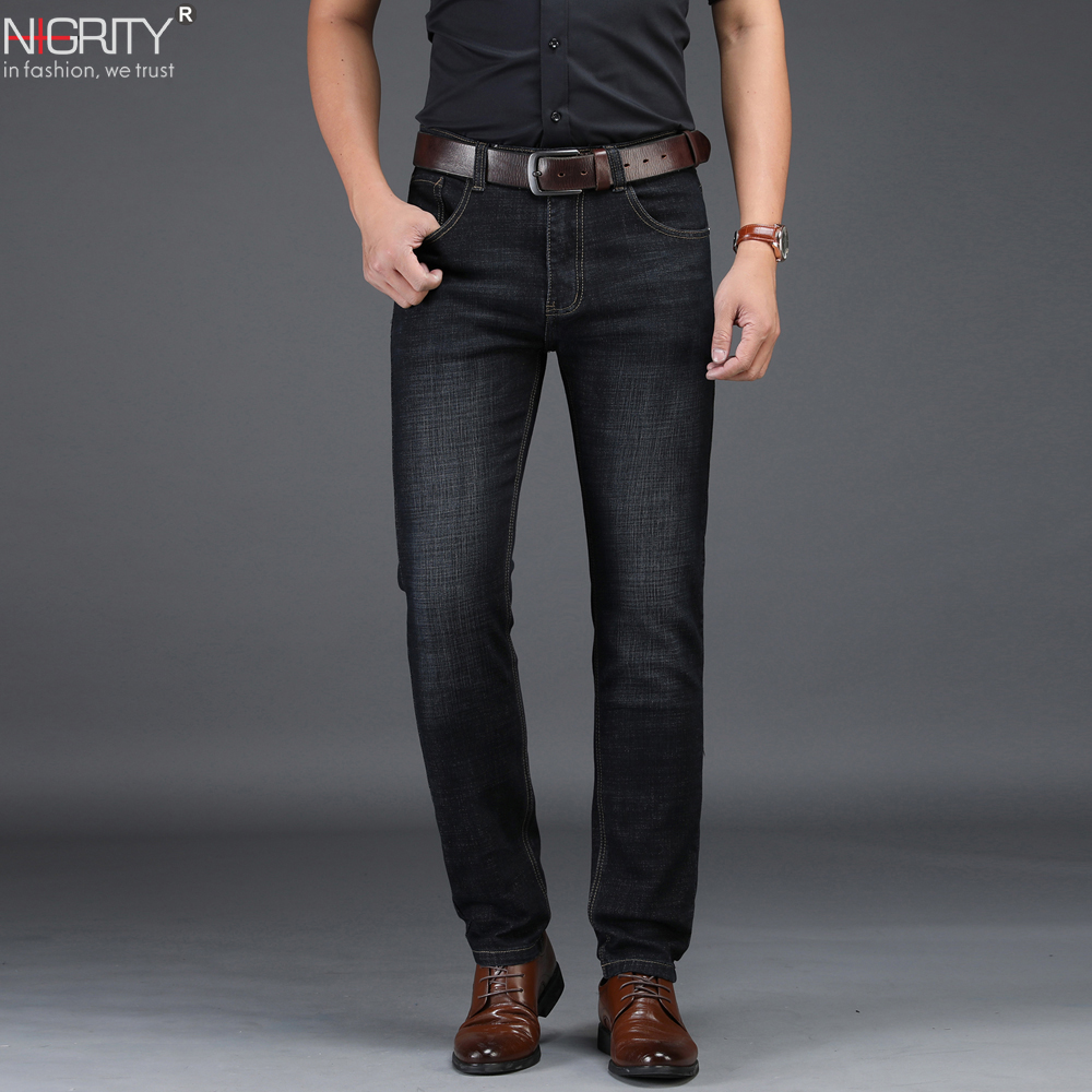 NIGRITY 2019 New Hot Sale Men's Business Classic Leisure Jeans Basic Styles Straight Pant Male Trousers Quality Plus Size 29-42