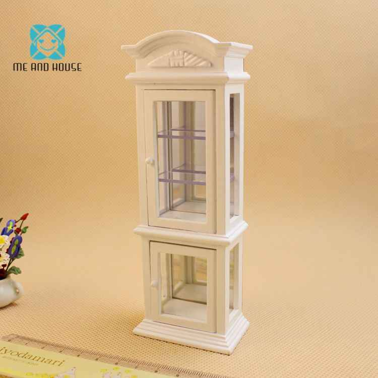 1:12 Doll House miniature furniture modern wooden wine glass display cabinet showcase
