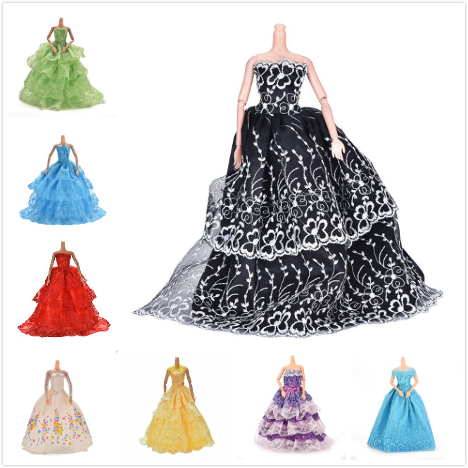 Elegant Handmade Wedding Princess Dress Doll Floral Doll Dress For Barbie Clothes Clothing Dolls Accessories Multi Layers
