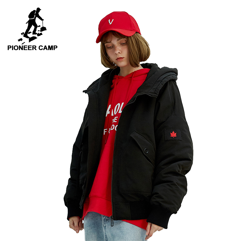 Pioneer camp new short womens cotton   parkas   brand clothing fashion hooded jacket thick warm women winter coat black AMF801339S