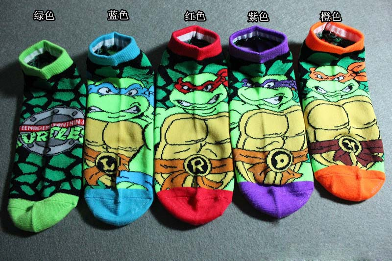 5Pairs/Lot Woman Men Leo/Ninja Ankle Costume Socks Turtle Cosplay Boat Slippers Cartoon Pattern Tube Cosplay Socks