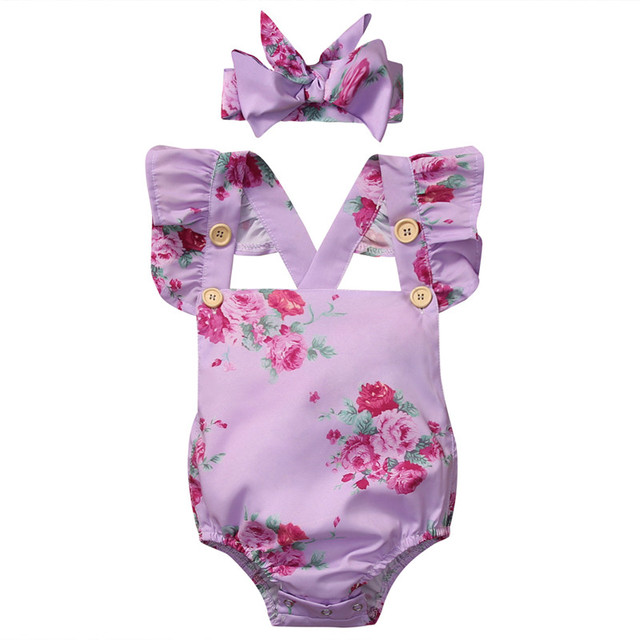 7e9980d9070e Summer Newborn Infant Baby Girl Floral Short Sleeve Romper Purple +Headband  Baby Romper Jumpsuit Outfits Sunsuit Clothes