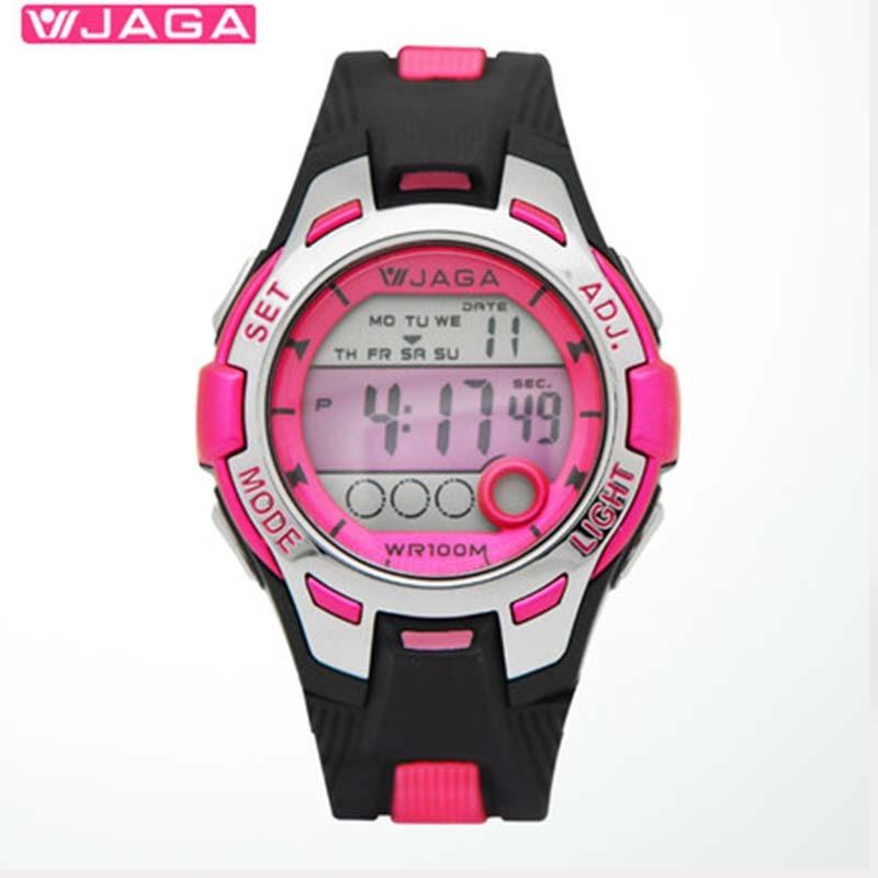 JAGA Sports de plein air enfants enfants montres garçon filles LED chronomètre numérique étanche montre-bracelet enfants montre M998