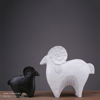 1 pair Resin Crafts Burst Creative Gift Black and White Sheep Nordic Style Home Decoration LU727160