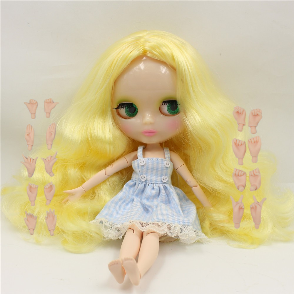 Free shipping Factory Blyth Doll BLQM366 Yellow curly hair Joint body Transparent skin face factory blyth doll custom your doll choose hair face body skin only one doll design your own doll