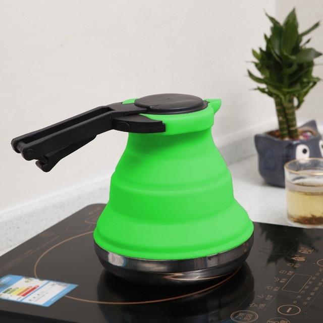 3 צבעים נייד מתקפל סיליקון מים קומקום 1.5L מים סיר חיצוני קמפינג Travelling טיולים מטבח כלים תה קפה קומקום