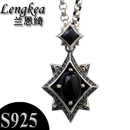 Men choker 925 sterling silver male necklace silver pendants inlay black stone crystal pendant fashion boys accessories gift цена 2017