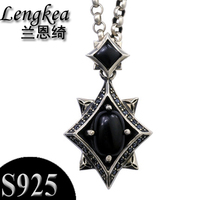 Men choker 925 sterling silver male necklace silver pendants inlay black stone crystal pendant fashion boys accessories gift
