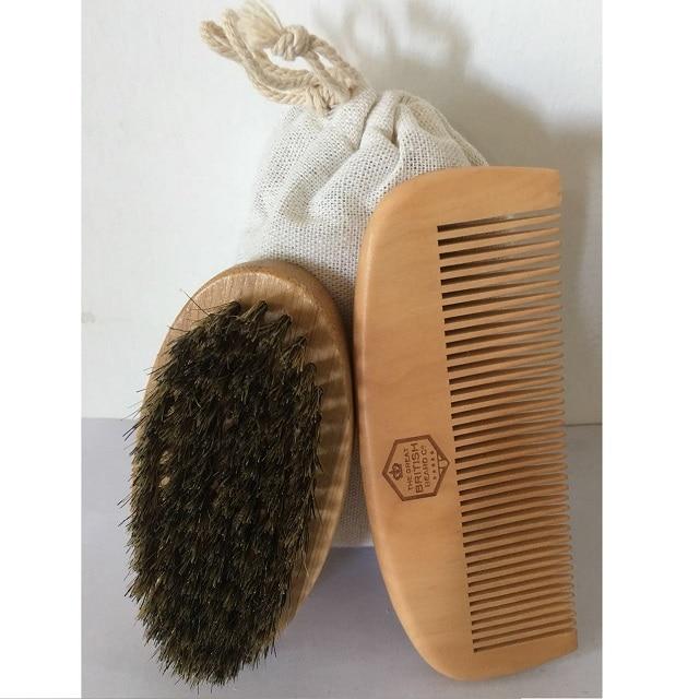 Felicare Mens Boar <font><b>Hair</b></font> <font><b>Bristle</b></font> Hard Round Wood Handle <font><b>Beard</b></font> Mustache <font><b>Brush</b></font> Set