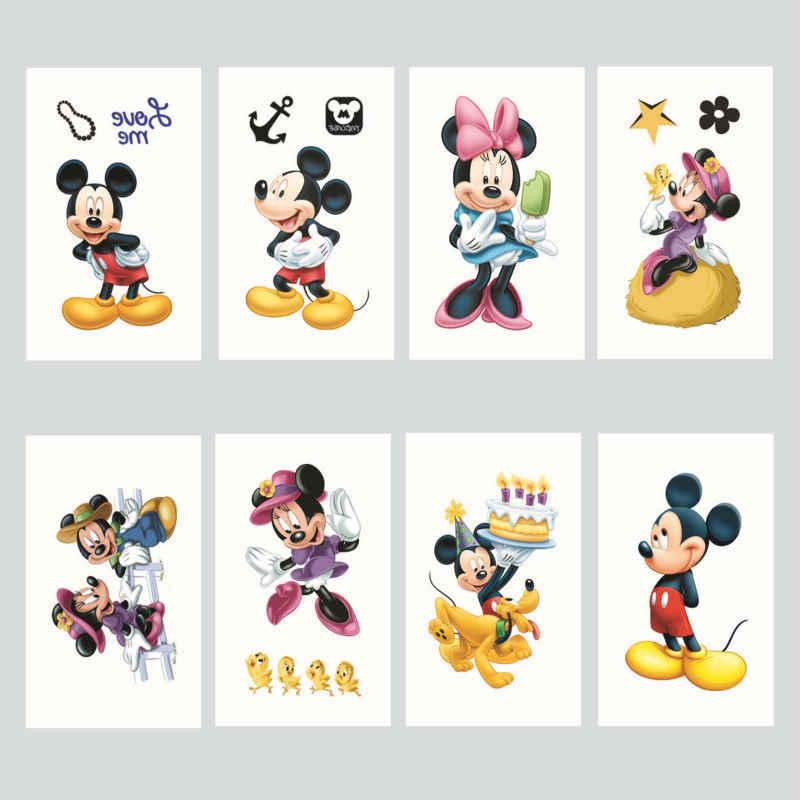100 pc/lote Disny Dos Desenhos Animados Mickey Minnie Bonito À Prova D' Água Tatuagens Temporárias Etiqueta Corpo Para Fontes Do Partido Decorações Do Favor