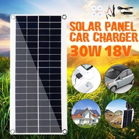 30W 18V Portable Solar Panel Double USB Power Bank Board External Battery Charging Solar Cell Board Crocodile Clips Car charger
