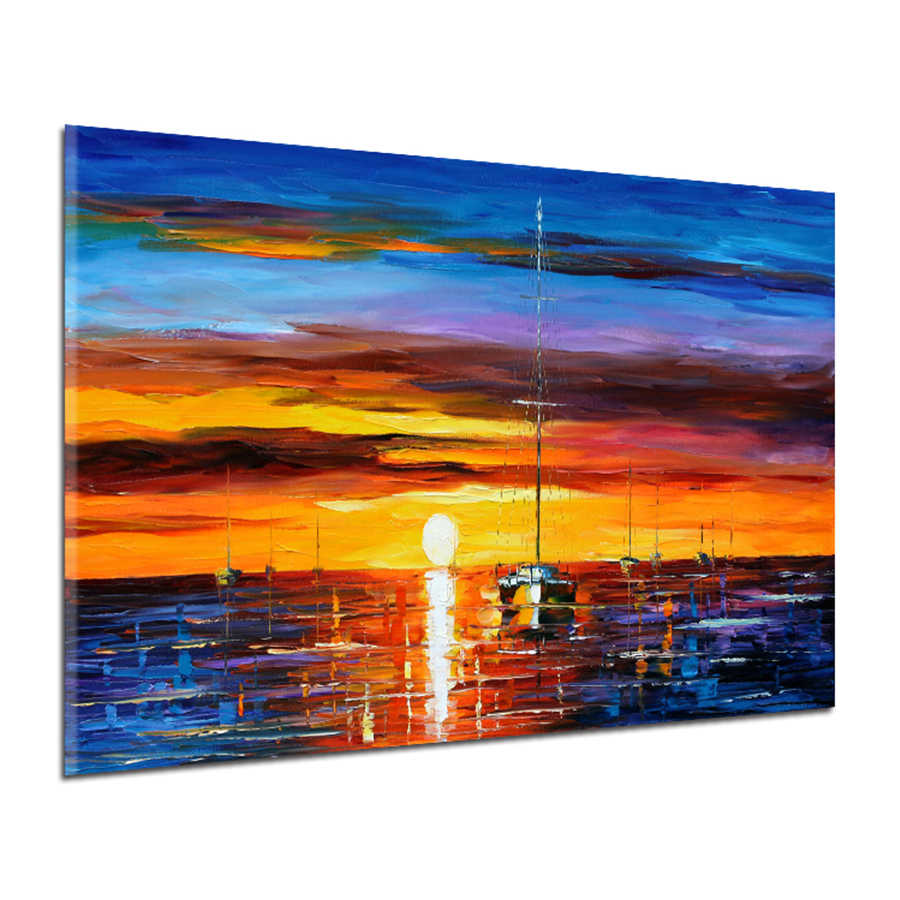 Modern Abstract Landscape Oil Painting on Canvas Wall Art Pictures Sunset and Boat Seascape Posters Prints For Home Decoration