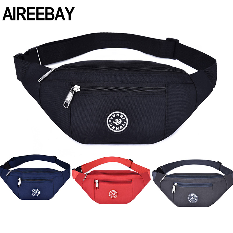 AIREEBAY Waist Bag Women New Casual Fanny Pack For Girls Men Sports Bum Bag Packs Fashion Black Red Chest Crossbody Bag