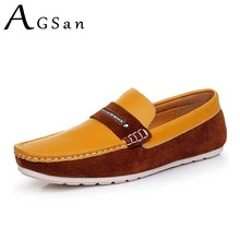 AGSan Men Genuine Leather Penny Loafers Male Luxury Brand Driving Shoes Yellow Blue Classic Shoes