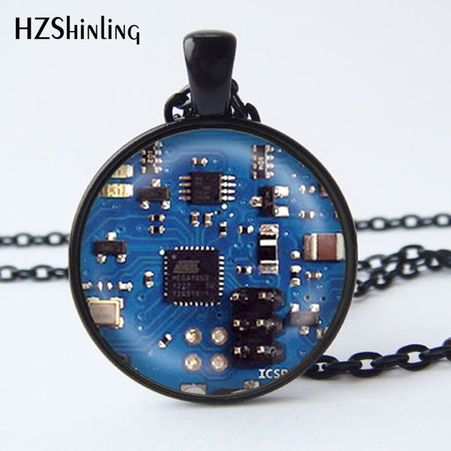 2016 Glass Dome Cabochon Jewelry Blue 2 Circuit Board Art Print Pendant Necklace Charm Gifts for Her or Him Geek Electronics HZ1 1