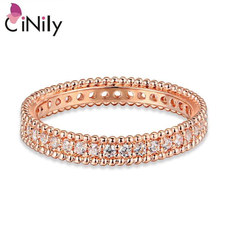 Cinily Wholesale Jewelry Garnet Ring-Size Anniversary Rose-Gold-Color Women Zirconia