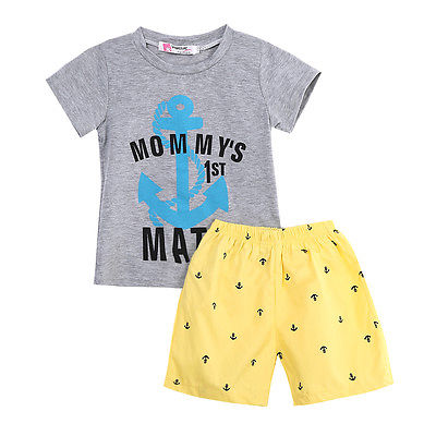 2Pcs Set!! Kids Baby Boys Casual Anchor Letters T-shirt O Neck Top+ Yellow Shorts Pants Set Summer Clothes 2-7Y