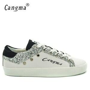 Image 2 - CANGMA Designer Turnschuhe Frauen Weiß Atmungs Echtem Leder Schuhe Damen Schuhe Neue Stil Wildleder Silber Glitter Flache Schuhe