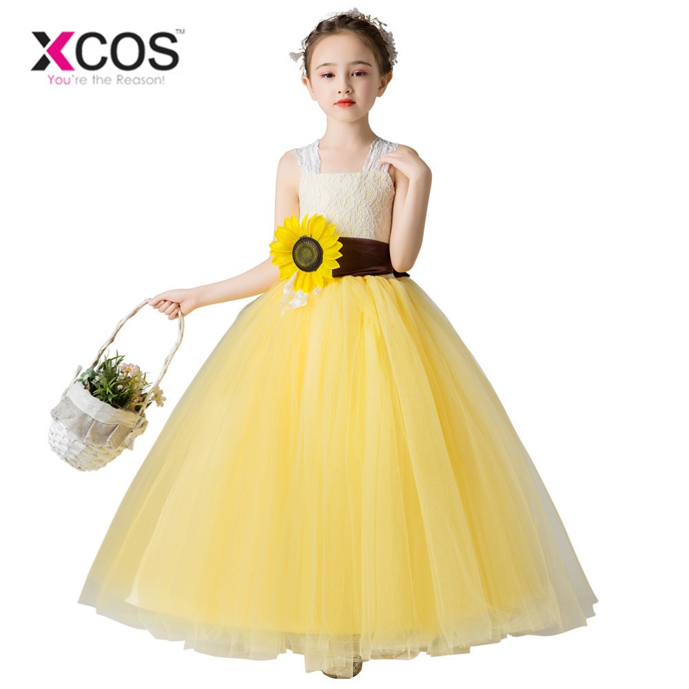 XCOS Princess Ball Gown Lace   Flower     Girl     Dresses   2018 Big Sash Floor Length   Girls   Pageant   Dresses   First Communion   Dresses