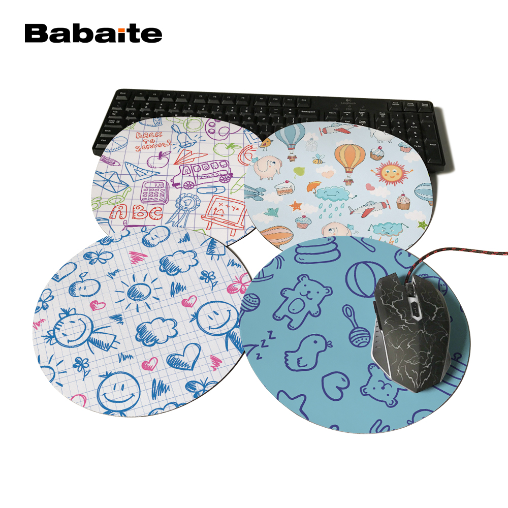 Babaite Sky Custom Design Made Durable Gaming Anti-slip Silicone Space Round Gaming Mouse Pad Computer Mouse Mat For Sun Clouds