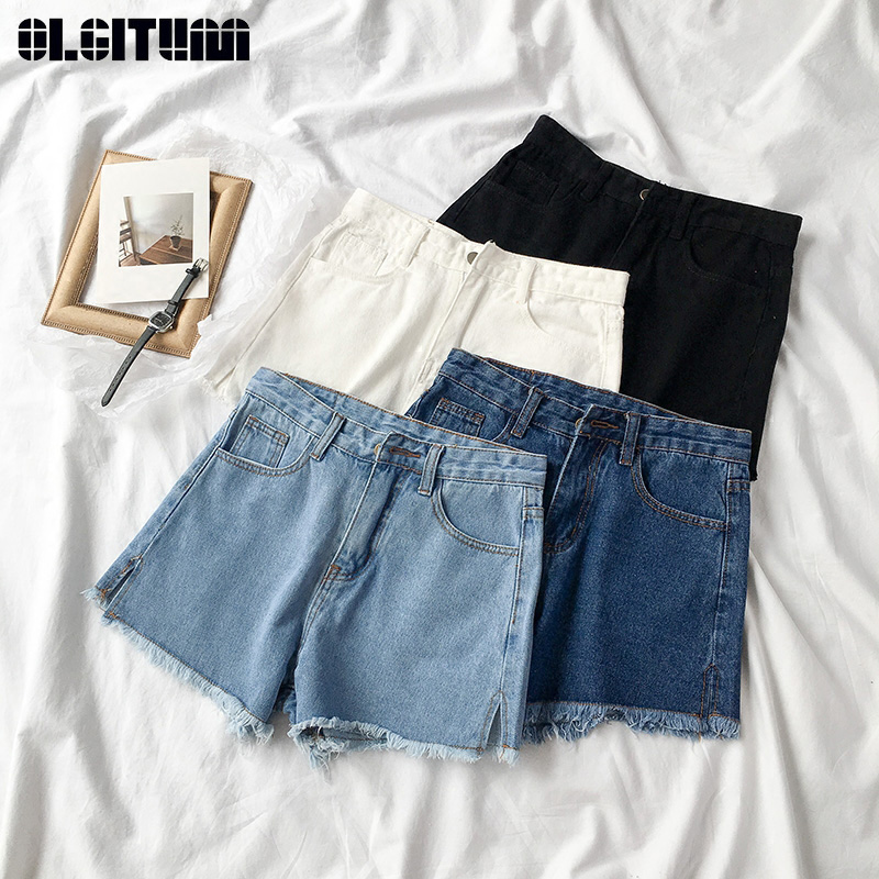 2020 New Women Shorts Korean Version Female Retro Wild Pure Color Raw Denim Shorts Feamle Hot Shorts Summer PT386