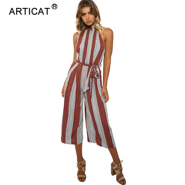 21d185acf6 SIBYBO Striped Wide Leg Jumpsuit Romper Women Elegant Sleeveless Halter  Summer Beach Playsuits Casual Loose Long Pants Overalls