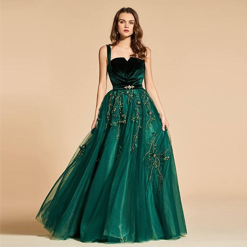 Appliques robe de soirée longue Tulle festonné robe de bal vert élégant a-ligne robes formelles sur mesure fête longue robe