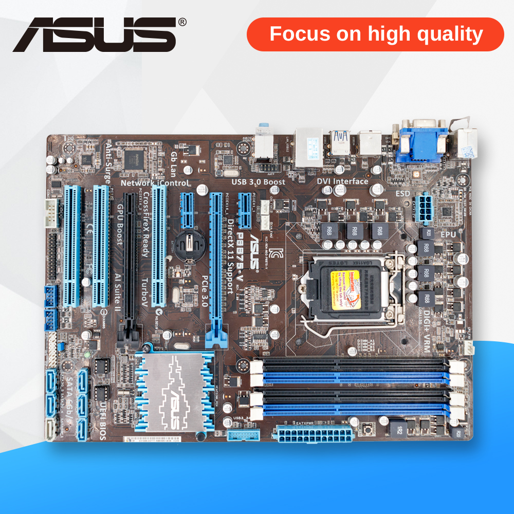 Asus P8B75-V Desktop Motherboard B75 Socket LGA 1155 i3 i5 i7 DDR3 32G SATA3 USB3.0 ATX On Sale asus p8z77 m desktop motherboard z77 socket lga 1155 i3 i5 i7 ddr3 32g uatx uefi bios original used mainboard on sale