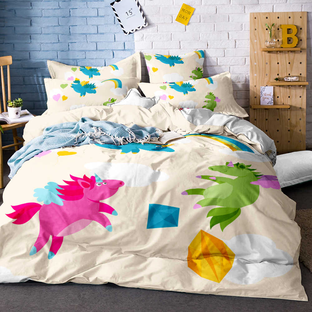 Unicorn Comforter Bedsheet Color By Art Bedding Set Roses Gray Duvet Cover Floral Bed Set 3pcs Home Textiles