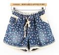 2015 mujeres pantalones cortos de mezclilla de verano pantalones vaqueros shortseuropean más el cordón de la cintura elástica denim impresa shortxxxl xxxxl5XLgirls impresión cortos