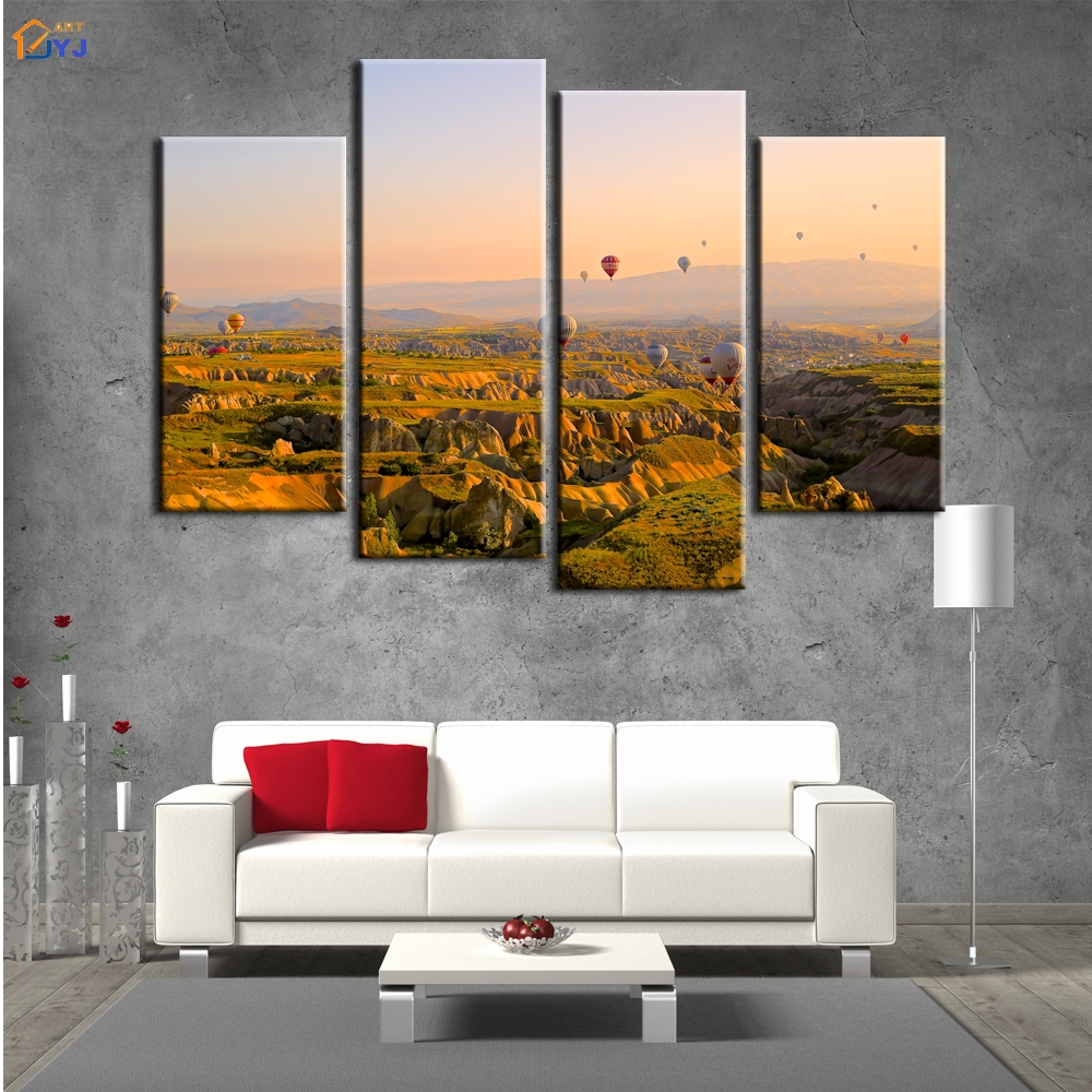 Oil Based Wall Paint Part - 30: 4pcs Hot Air Balloon Picture Huge Home Decoration For Living Room Wall Art  Gift HD Print Oil Painting On Canvas No Framed PT0012