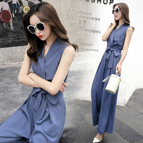 2019 été coréen sans manches large jambe pantalon taille haute bleu combinaisons cordon salopette pour femmes profonde V blanc Long combinaison