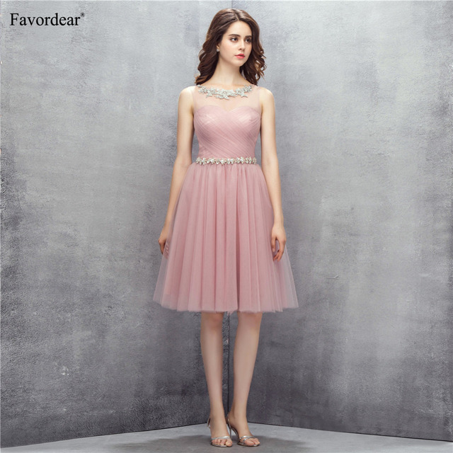 Favordear 2018 Women s Light Weight Tulle Knee Length Formal Dress Blush  Short Bridesmaid Dresses With Beaded Waist a6f990c5fed5