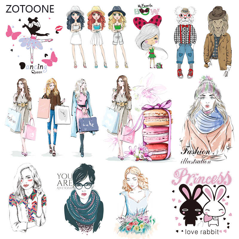 ZOTOONE Fashion Girl Set Stripes Iron on Transfer Patches on Clothing Diy Patch Heat Transfer for Clothes Accessories Sticker G
