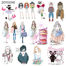 ZOTOONE Fashion Girl Set Stripes Iron on Transfer Patches Clothing Diy Patch Heat for Clothes Accessories Sticker G