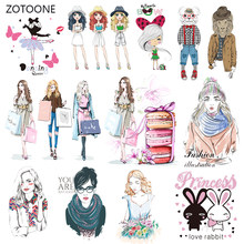 ZOTOONE Fashion Girl Set Stripes Iron on Transfer Patches on Clothing Diy Patch Heat Transfer for Clothes Accessories Sticker G(China)