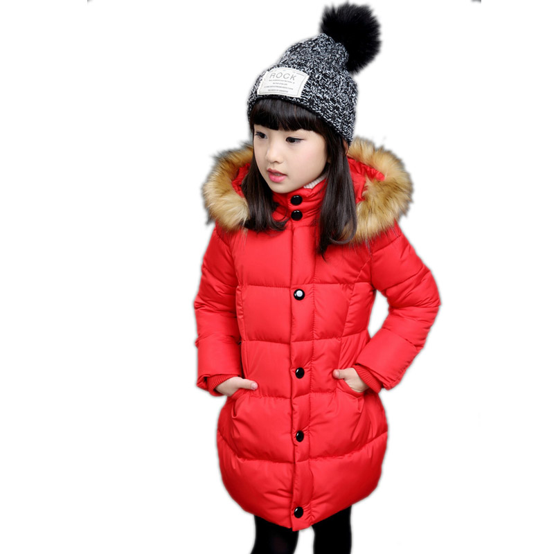 ФОТО children winter jackets for girls 2016 new girl down jackets thicken warm natural hair collar girl winter coat solid girl parka