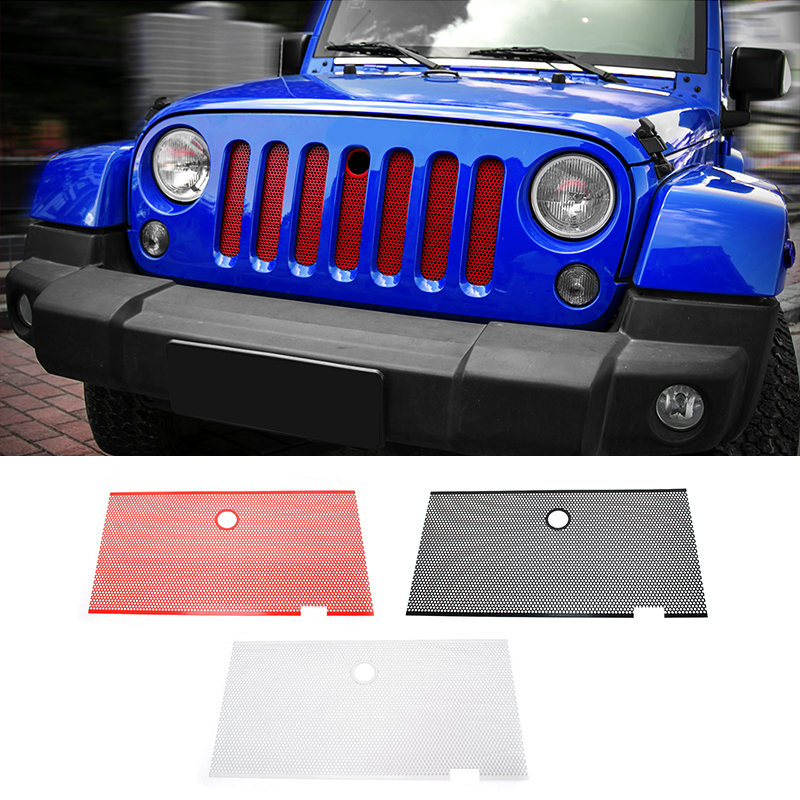 MOPAI Steel Car Exterior Insect Nets Mesh Grille Decoration Cover With Hole Trim For Jeep Wrangler 2007 Up Car Styling mopai new arrival car exterior rear triangle glass decoration cover stickers for jeep compass 2017 up car styling