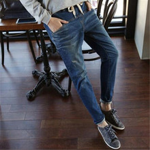 XL-5XL Plus Size Fashion Women Pants Elastic Waist Women's Clothing Jeans Pants Blue Casual Pencil Denim Pants Loose Jeans C1251