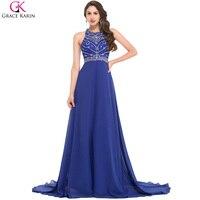 Floor Length Royal Blue Evening Dress Grace Karin Chiffon Backless Women Formal Gowns Long Mermaid Dresses