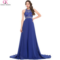 Floor Length Royal Blue Evening Dress Grace Karin Chiffon Backless Women Formal Gowns Long Mermaid Dresses