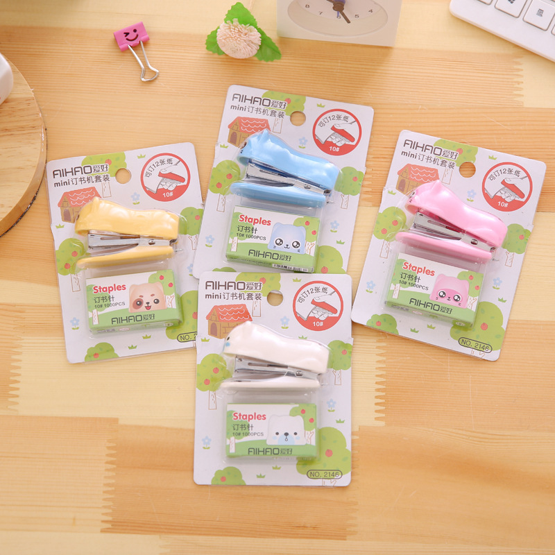 8 Set/Lot Mini Stapler Set With 1000 Pcs 10# Staples Paper Binding Tools Stationery Office School Supplies Grampeador F116
