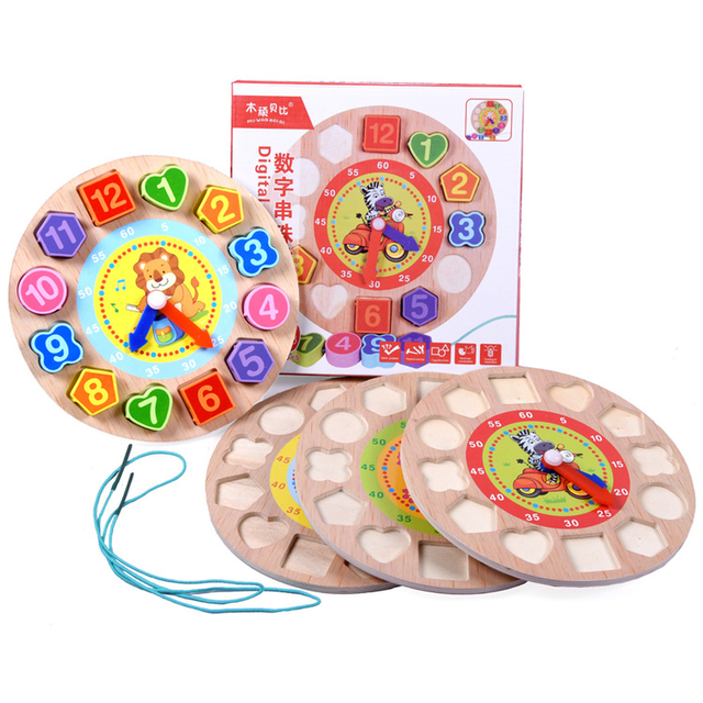 Montessori Kids Toy Wooden Sorting Clock Game Learning Time Clock Cognition Calendar & Time Learning & Education Preschool Gift