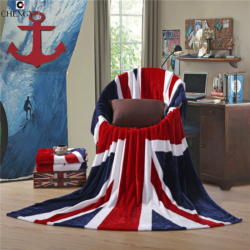2 style blanket super soft coral carpet  British & American Flag Textile Fleece Blankets On Bed Travel Sofa Blanket 150*200 CM