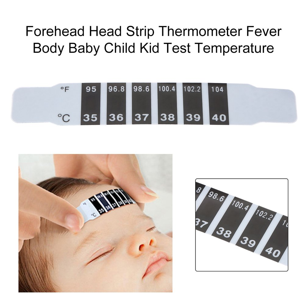 2016 New  High Quality 2pcs or 1pcs x Forehead Head Strip Thermometer Fever Body Baby Child Kid Test Temperature Hot Selling