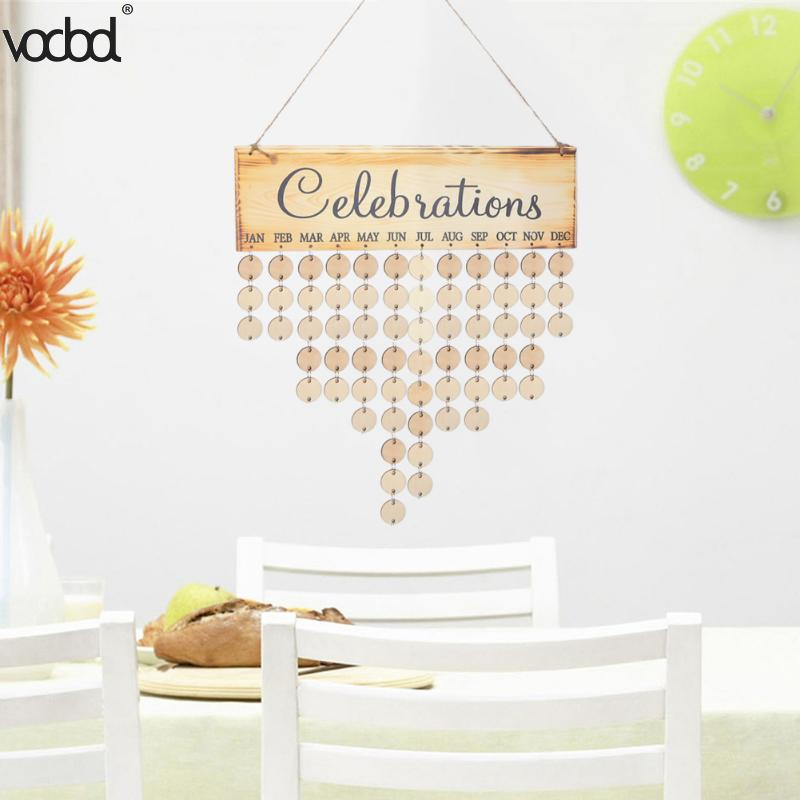 DIY Wooden Birthday Wall Calendar Family Friends Sign Special Dates Celebration Board Planner Creative Home Hanging Decor Gifts