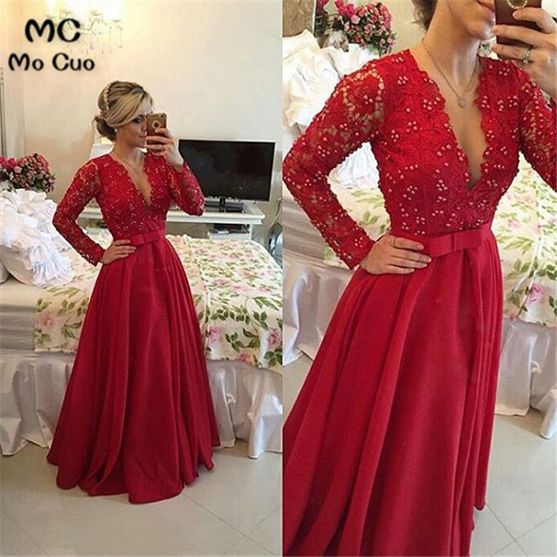 Promotion 2018 A-Line Evening Gown Deep V-Neck Full Sleeve Lace Draped bow Red Long Party Evening dress for women