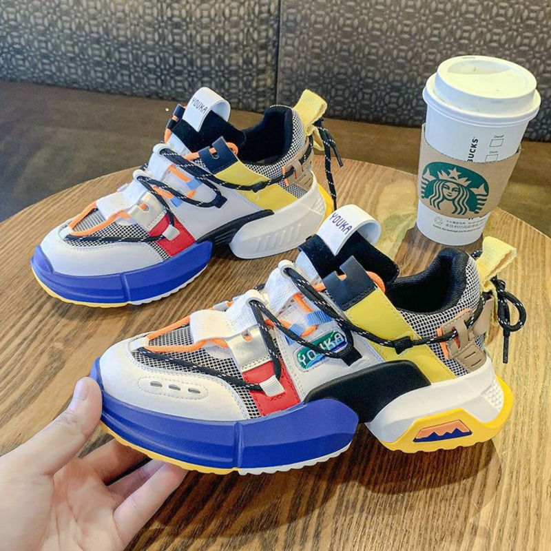 2019 New Chunky Fashion Sneakers Platform Women Thick Sole Ladies Female Chunky Shoes Women Casual Vulcanize Platform Sneakers