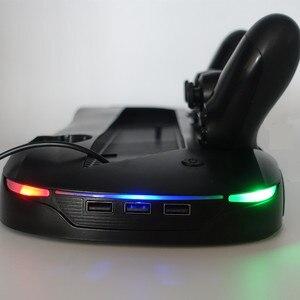 Image 2 - La base universelle multifonctionnelle de support de charge de refroidissement prend en charge le double indicateur LED de charge de double mouvement de poignée pour PS4 PRO et PS4 SLIM