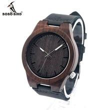Bobo bird b12 desenhador dos homens relógio de pulso de madeira de bambu de madeira de ébano com Pulseira de Couro Genuíno Casual Homens se vestem Relógio Em caixa de Presente caixa